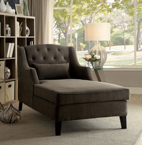 CM-BN6147 Chaise Lounge - Roni Traditional Style Mocha Finish Padded Corduroy Chaise Lounge Chair