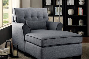 CM-BN6170GY Chaise Lounge - Marie Contemporary Style Grey Finish Padded Linen Chaise Lounge Chair