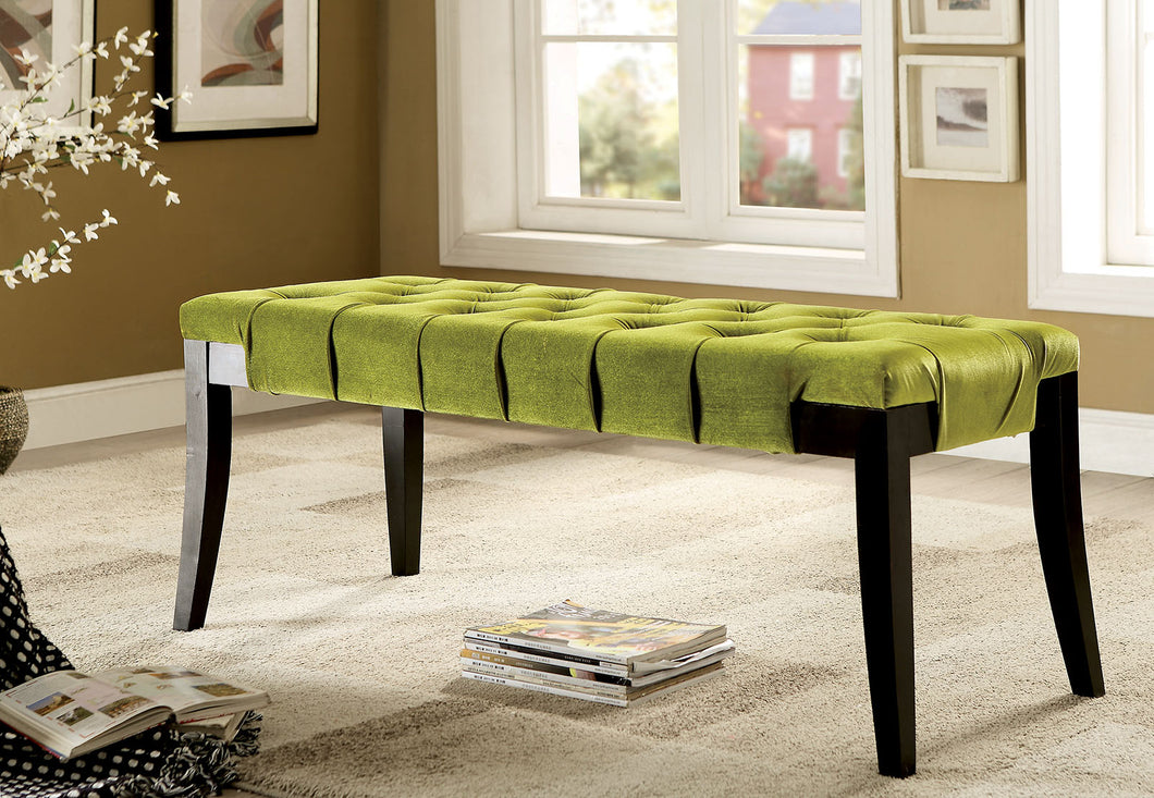 CM-BN6201 Bench - Milany Green Finish Contemporary Style Fabric Bench
