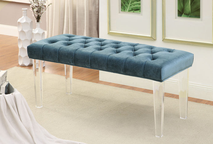 CM-BN6202 Bench - Mahony Blue Finish Contemporary Style Fabric Bench