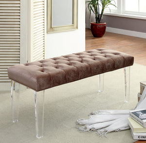CM-BN6202 Bench - Mahony Brown Finish Contemporary Style Fabric Bench