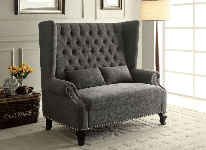 CM-BN6223 Loveseat Bench - Alcacer Mid-Century Design Grey Finish Fabric Loveseat Bench