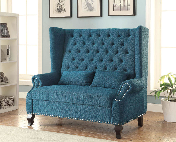 CM-BN6223 Loveseat Bench - Alcacer Mid-Century Design Dark Teal Finish Fabric Loveseat Bench