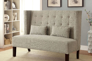 CM-BN6226 Loveseat Bench - Amora Mid-Century Design Beige Finish Fabric Loveseat Bench