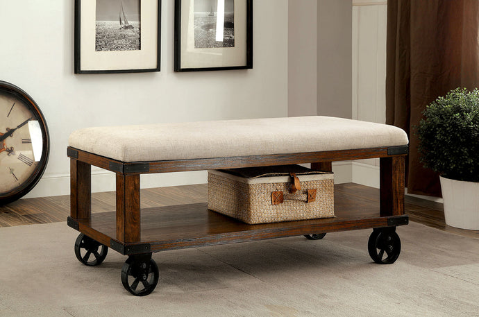 CM-BN6254 Storage Bench - Broadus Industrial Design Wood Frame Open Shelf Storage Bench