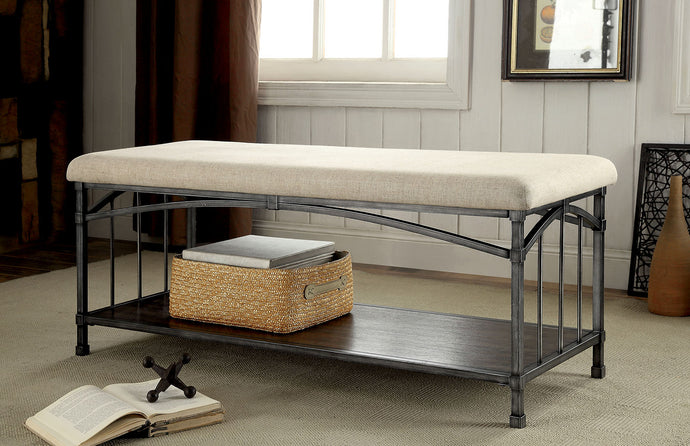 CM-BN6255 Storage Bench - Itzel Industrial Design Metal Frame Open Shelf Storage Bench