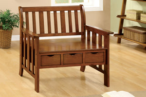 CM-BN6300 Wooden Bench - Pine Crest Mission Style Oak Finish Bench