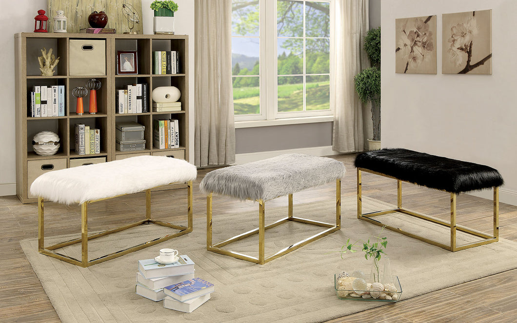 CM-BN6410-L Bench - Zada Gold Contemporary Style with Fur-like Upholstery Bench