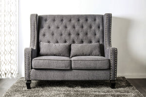 CM-BN6449GY Loveseat Bench - Alicante Transitional Style Grey Finish Fabric Loveseat Bench