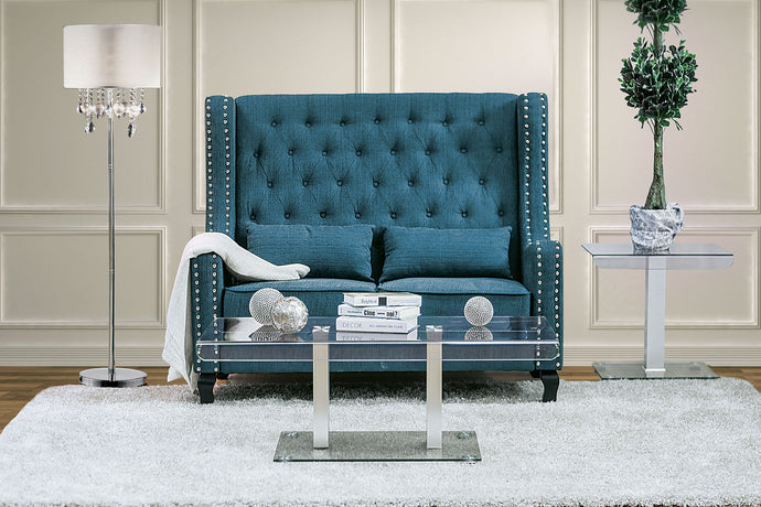 CM-BN6449TL Loveseat Bench - Alicante Transitional Style Dark Teal Finish Fabric Loveseat Bench