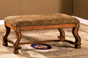 CM-BN6620 Bench - Vale Royal Paisley Fabric Antique Oak Finish Bench