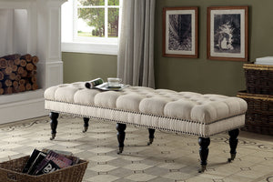 CM-BN6664 Ottoman Bench - Niki Contemporary Style Ivory Finish Fabric Ottoman Bench