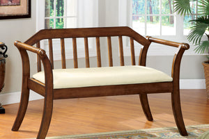 CM-BN6681 Bench - Derby Ivory Finish Seat with Dark Oak Finish Bench
