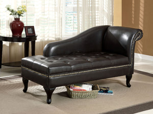 CM-BN6893 Storage Chaise Lounge - Lakeport Black Finish Leatherette Contemporary Storage Chaise Lounge
