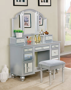 CM-DK6162SV Vanity Set - Tracy Silver Contemporary Style Vanity Table with Stool