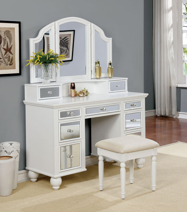 CM-DK6162WH Vanity Set - Tracy White Contemporary Style Vanity Table w/ Stool