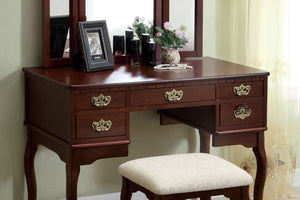 CM-DK6405CH - Ashland Cherry Vanity Table with Stool