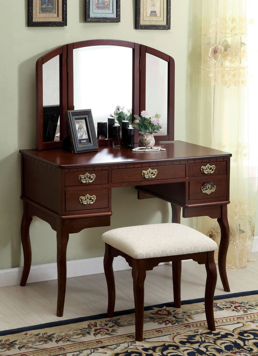 CM-DK6405CH Vanity Set - Ashland Cherry Traditional Vanity Table with Stool