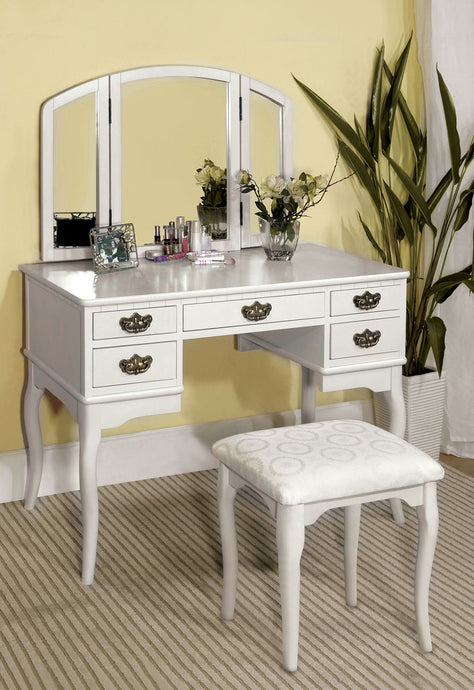 CM-DK6405WH Vanity Set - Ashland White Traditional Style Vanity Table with Stool