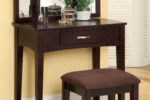 CM-DK6490EXP Vanity Set - Potterville Espresso Finish Contemporary Style Vanity Table with Stool