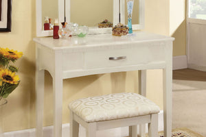 CM-DK6490WH Vanity Set - Potterville White Finish Contemporary Style Vanity Table with Stool