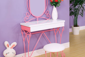 CM-DK6705 Vanity Set - Enchant Pink & White Finish Metal Frame Traditional Style Vanity Table with Stool