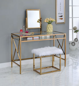 CM-DK6707CPN Vanity Set - Lismore Champagne Metal Frame Contemporary Style Vanity Table with Stool