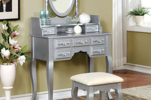 CM-DK6845SV Vanity Set - Harriet Silver Transitional Style Vanity Table with Stool