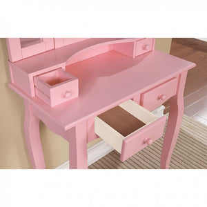CM-DK6846PK Vanity Set - Janelle Pink Transitional Style Vanity Table with Stool