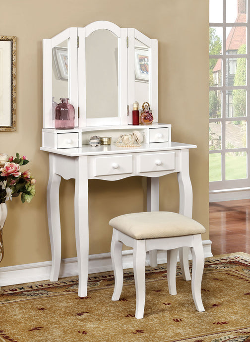 CM-DK6846WH Vanity Set - Janelle White Transitional Style Vanity Table with Stool