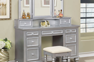 CM-DK6848SV Vanity Set - Athy Silver Transitional Style Vanity Table with Stool