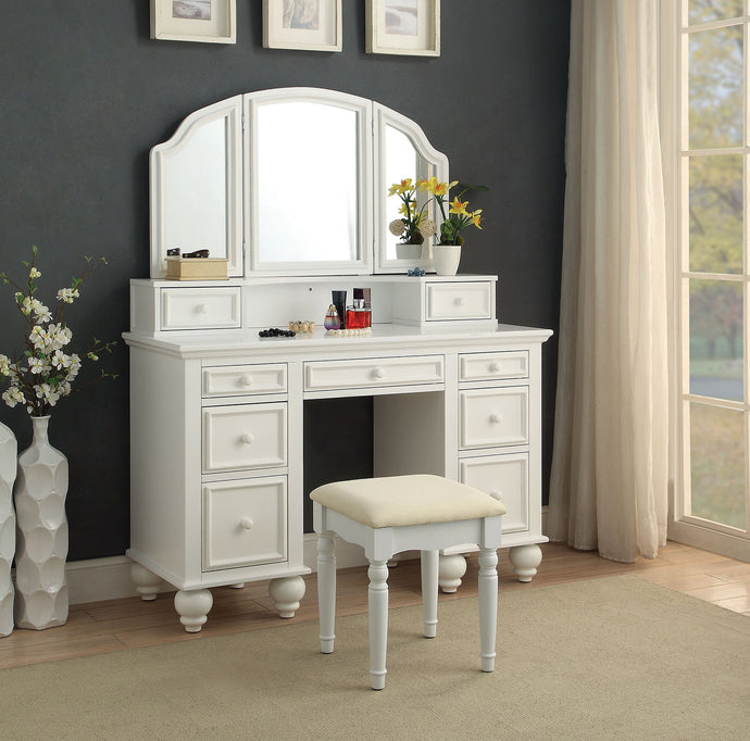 CM-DK6848WH Vanity Set - Athy White Transitional Style Vanity Table with Stool