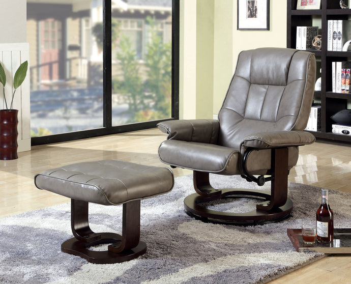 CM-RC6920GY - Cheste Swivel Lounger Chair with Ottoman