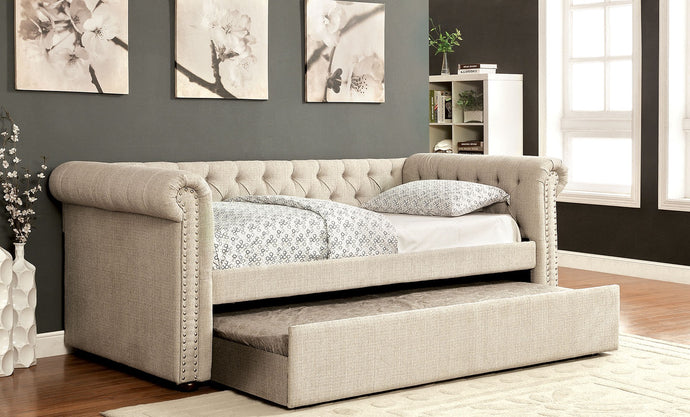 CM1027BG-F - Full Daybed - Leanna Transitional Style Beige Finish Button Tufted Daybed with Trundle