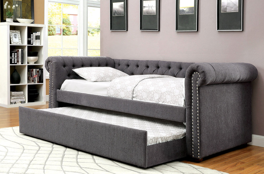 CM1027GY-F - Full Daybed - Leanna Transitional Style Grey Finish Button Tufted Daybed with Trundle