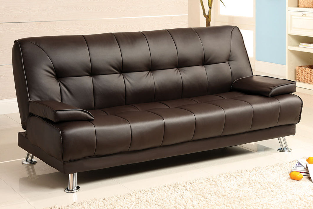 CM2100 Adjustable Sofa Bed - Beaumont Contemporary Style Dark Brown Leatherette Adjustable Sofa Bed