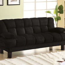 CM2150 Adjustable Futon Sofa - Bonifa Contemporary Style Black Microfiber Adjustable Futon Sofa