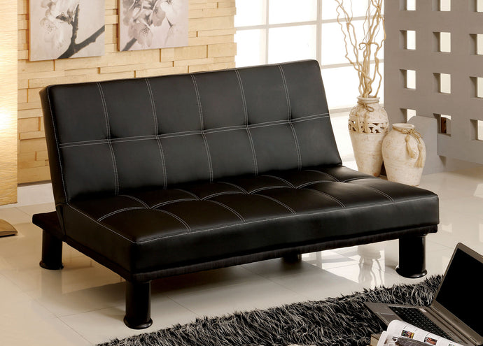 CM2394 Adjustable Sofa Bed - Quinn Contemporary Style Black Finish Leatherette Adjustable Sofa Bed