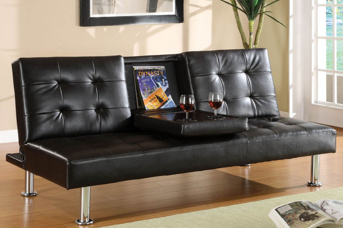 CM2666 Adjustable Sofa Bed - Orinda Contemporary Style Black Finish Leatherette Adjustable Sofa Bed