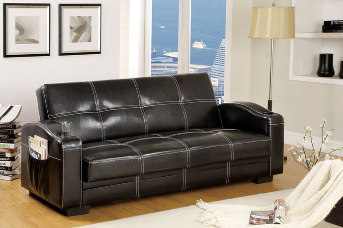 CM2690 Adjustable Sofa Bed - Colona Contemporary Style Black Finish Leatherette Adjustable Sofa Bed