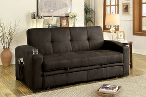 CM2691 Adjustable Futon Sofa - Mavis Transitional Style Brown Fabric Adjustable Futon Sofa