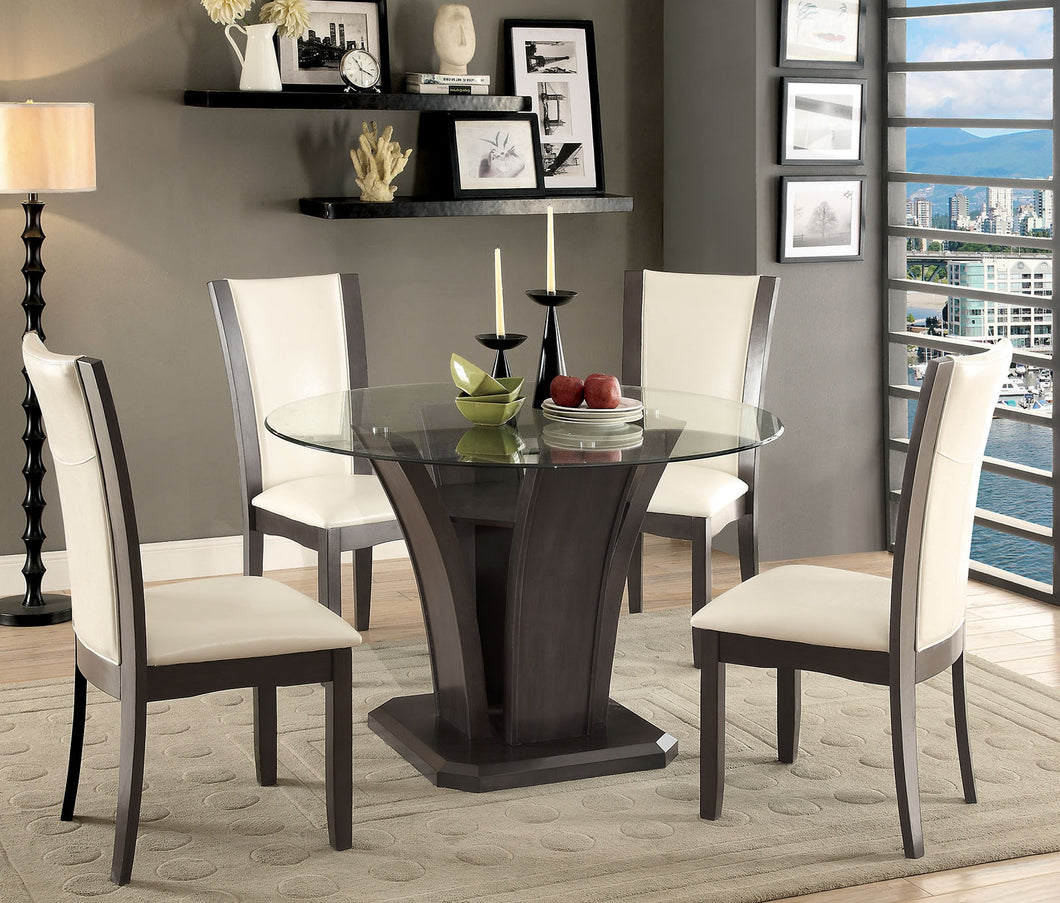Dining Table CM3710GY-RT - Manhattan Grey Dining Table with 4 Ivory Chairs