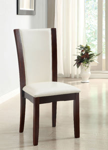 Dining Table CM3710RT - Manhattan Dark Cherry Dining Table with 4 White Chairs