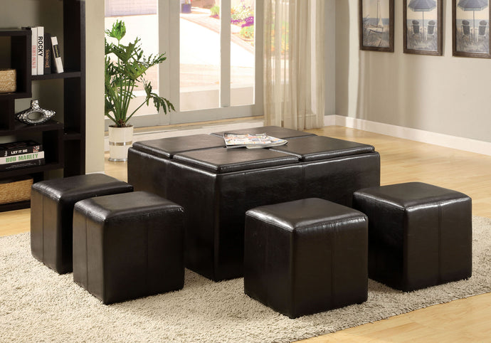 CM4046 Nested Storage Ottoman - Holloway Espresso Finish Leatherette Storage Ottoman 4-Nesting Ottoman
