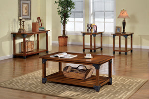 CM4102 Coffee Table Set - Bozeman Country Style Antique Oak Finish 3-Piece Coffee Table Set