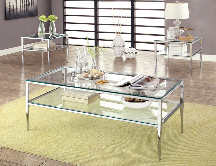CM4162 Coffee Table - Tanika Chrome Frame Contemporary Style Coffee Table