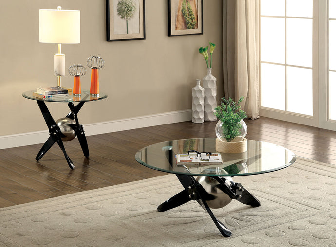 CM4169 Coffee Table - Rylie Powder Coated Black Finish Contemporary Style Coffee Table