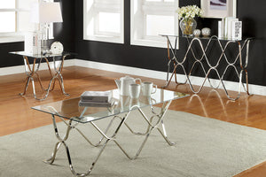 CM4229 Coffee Table - Vador Modern Style Chrome Curved Base Coffee Table
