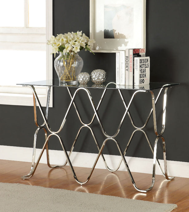 CM4229 Sofa Table - Vador Modern Style Chrome Curved Metal Base Sofa Table