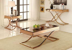 CM4230 Coffee Table - Sundance Modern Style Brass Curved X-Shape Frame Coffee Table